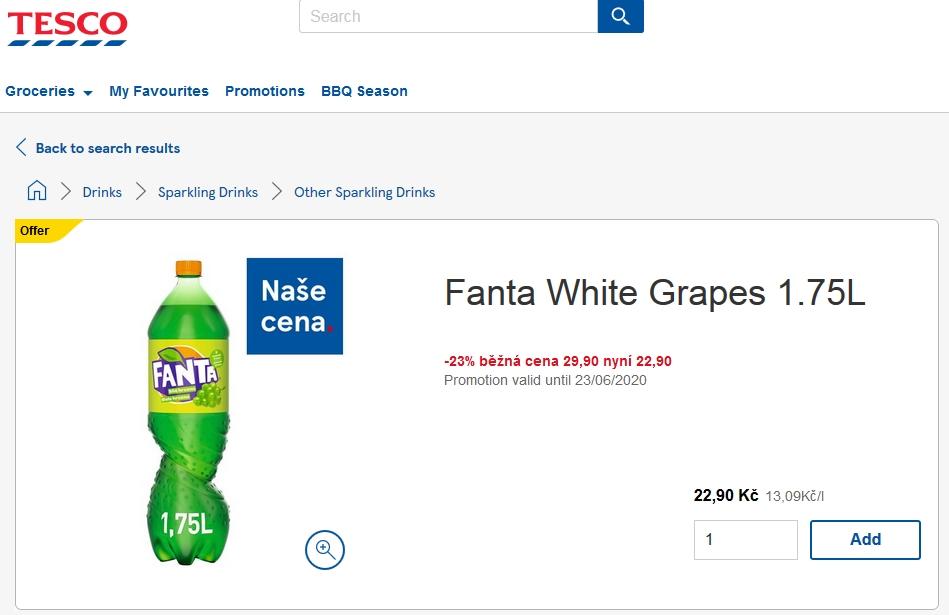 fanta Bílé hrozno / white grapes - tesco online